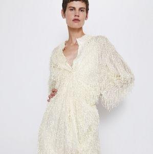 Zara | fringe textured dress